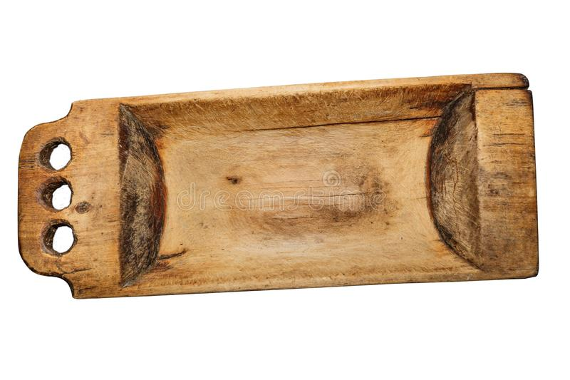 Η εκλεκτής ποιότητας ξύλινη γούρνα, χρησιμοποιούμενη, ράγισε, με τα σημεία του μύκητα ξύλινος-αποσύνθεσης οικογένεια εξοπλισμού π στοκ φωτογραφίες με δικαίωμα ελεύθερης χρήσης