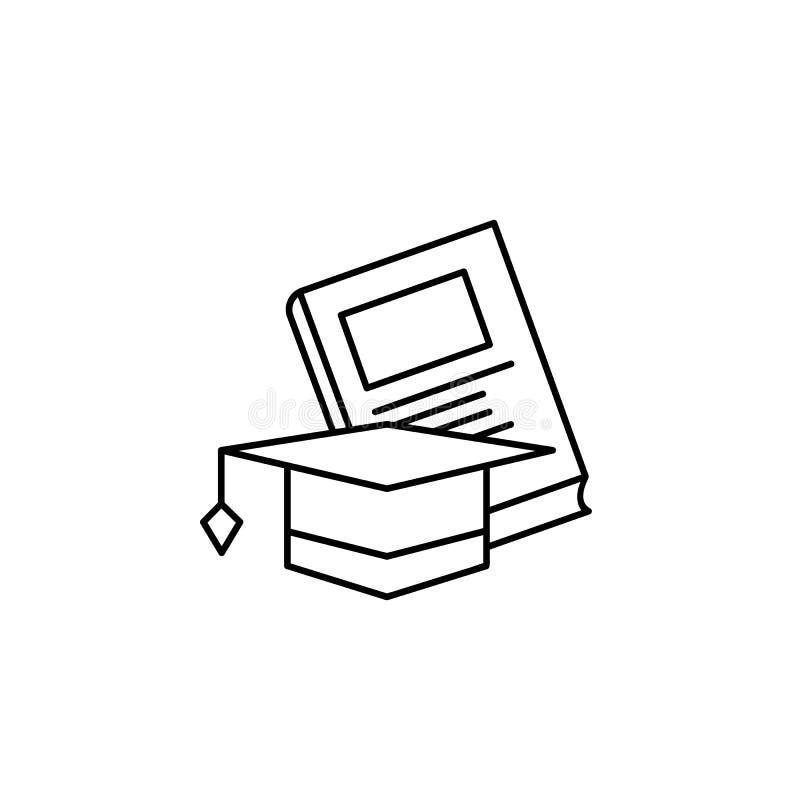 Η εκμάθηση, βιβλίο, τακτοποιεί το ακαδημαϊκό εικονίδιο ΚΑΠ Στοιχείο του εικονιδίου γραμμών εκπαίδευσης ελεύθερη απεικόνιση δικαιώματος