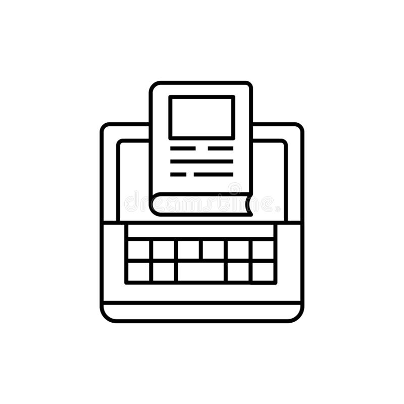 Η εκμάθηση, υπολογιστής, βιβλίο, διάβασε το εικονίδιο Στοιχείο του εικονιδίου γραμμών εκπαίδευσης απεικόνιση αποθεμάτων