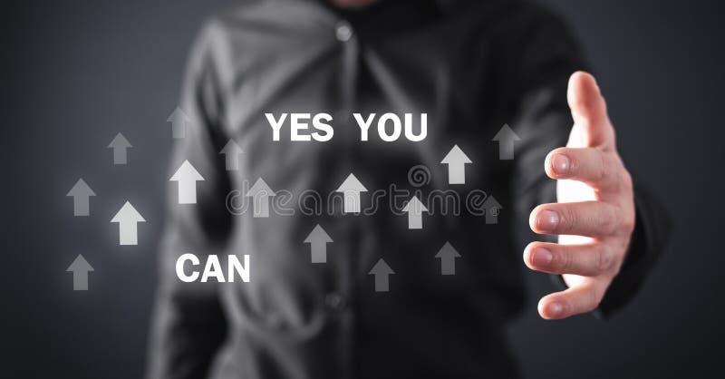 Η εκμετάλλευση ατόμων ναι εσείς μπορεί κείμενο με τα βέλη Κίνητρο, επιχείρηση, ανάπτυξη διανυσματική απεικόνιση