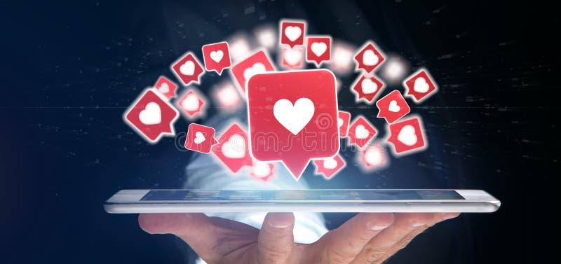 Η εκμετάλλευση επιχειρηματιών όπως την ανακοίνωση κοινωνικά μέσα τρισδιάστατα δίνει στοκ εικόνα