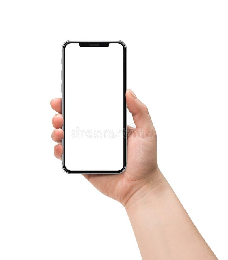 η εκμετάλλευση χεριών τραπεζών ανασκόπησης σημειώνει το smartphone στοκ φωτογραφία