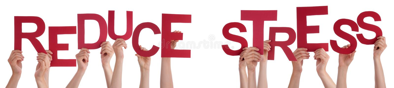 Η εκμετάλλευση το κόκκινο Word χεριών ανθρώπων μειώνει την πίεση στοκ εικόνα