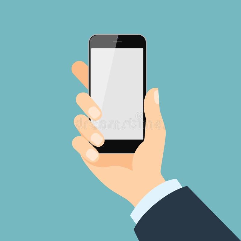 η εκμετάλλευση χεριών τραπεζών ανασκόπησης σημειώνει το smartphone ελεύθερη απεικόνιση δικαιώματος