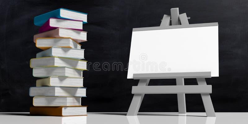 η εκπαίδευση έννοιας βιβλίων απομόνωσε παλαιό Whiteboard στο δίπλωμα ξύλινου easel, που απομονώνεται στο μαύρο κλίμα και έναν σωρ απεικόνιση αποθεμάτων