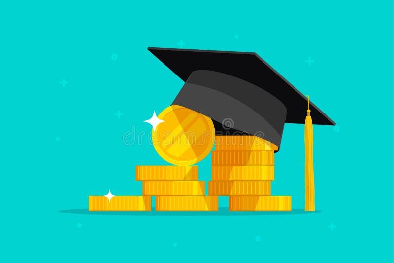 Η εκπαίδευση και η διανυσματική απεικόνιση χρημάτων, επίπεδα μετρητά νομισμάτων καπέλων βαθμολόγησης κινούμενων σχεδίων, έννοια τ διανυσματική απεικόνιση