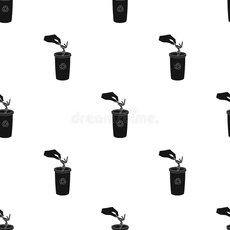 Η εκπομπή της φλούδας μπανανών στα απορρίματα μπορεί για τα απόβλητα Σκουπίδια και ενιαίο εικονίδιο οικολογίας στο μαύρο διανυσμα ελεύθερη απεικόνιση δικαιώματος