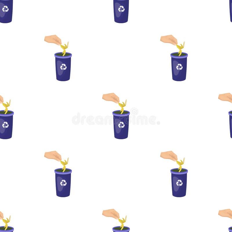 Η εκπομπή της φλούδας μπανανών στα απορρίματα μπορεί για τα απόβλητα Σκουπίδια και ενιαίο εικονίδιο οικολογίας στο διανυσματικό σ διανυσματική απεικόνιση