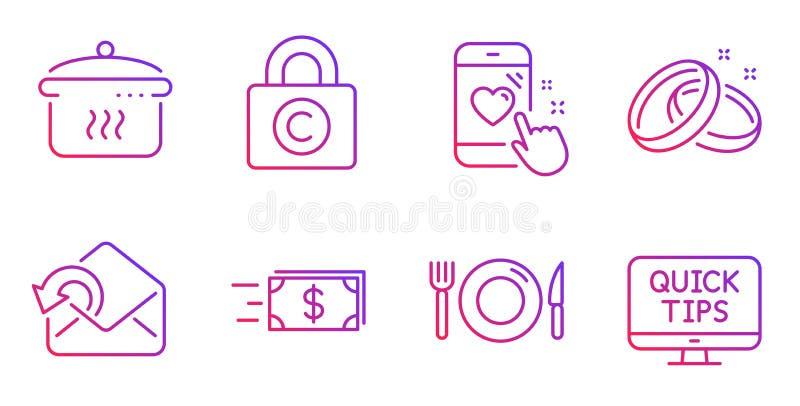 Η εκτίμηση καρδιών, στέλνει τα εικονίδια ταχυδρομείου και μεταφοράς χρημάτων καθορισμένα Τρόφιμα, γαμήλια δαχτυλίδια και βράζοντα διανυσματική απεικόνιση