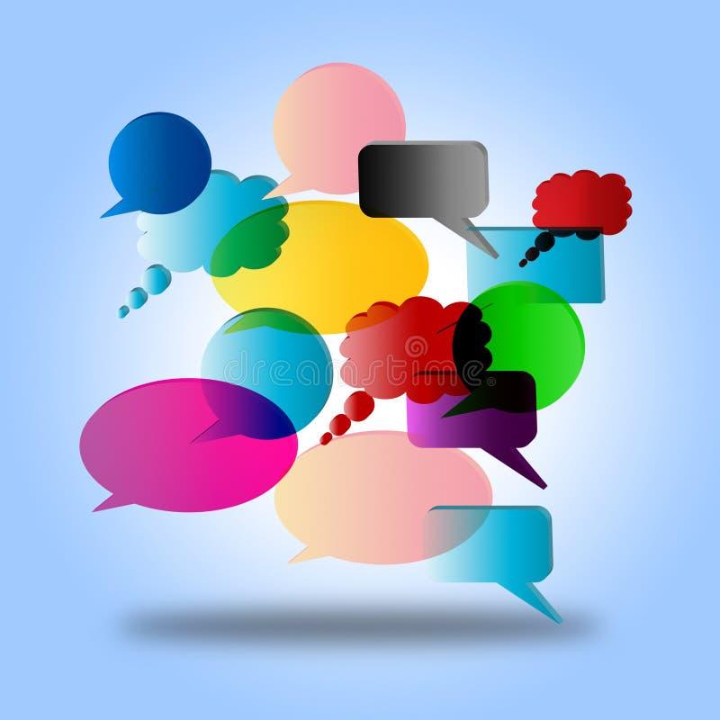Η λεκτική φυσαλίδα δείχνει ότι μιλήστε το διάλογο και την ομιλία διανυσματική απεικόνιση