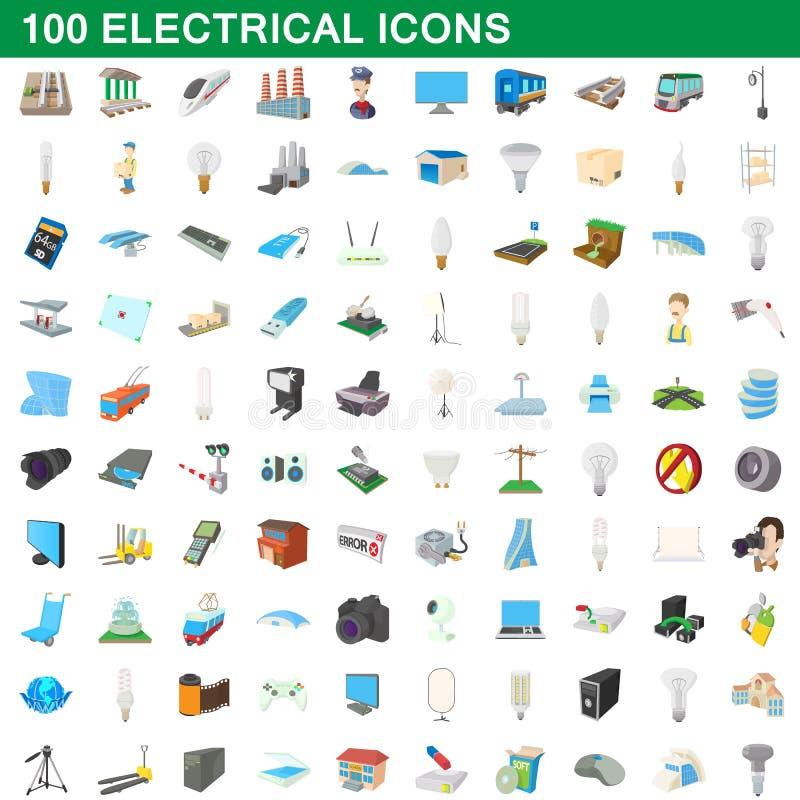 100 ηλεκτρικά εικονίδια καθορισμένα, ύφος κινούμενων σχεδίων ελεύθερη απεικόνιση δικαιώματος