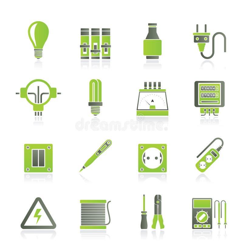Ηλεκτρικά συσκευές και εικονίδια εξοπλισμού διανυσματική απεικόνιση