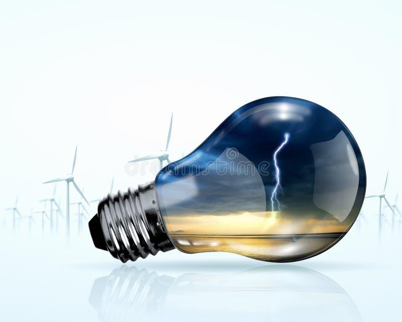 Ηλεκτρικές γεννήτριες βολβών και ανεμόμυλων στοκ εικόνες