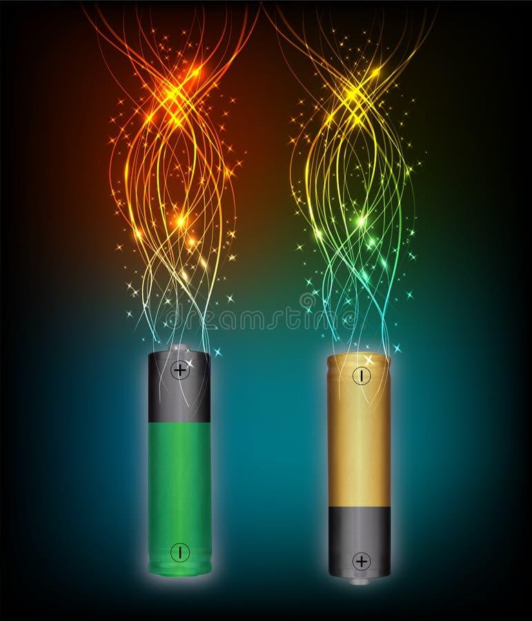 Ηλεκτρική ενέργεια μπαταριών απεικόνιση αποθεμάτων