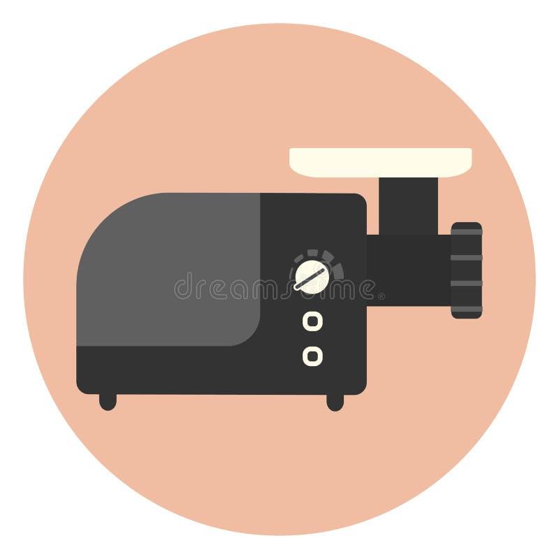 Ηλεκτρική κομματιάζοντας μηχανή, μηχανή κοπής κιμά κουζινών διανυσματική απεικόνιση