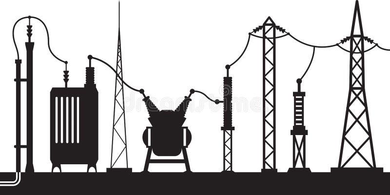 Ηλεκτρική σκηνή υποσταθμών ελεύθερη απεικόνιση δικαιώματος