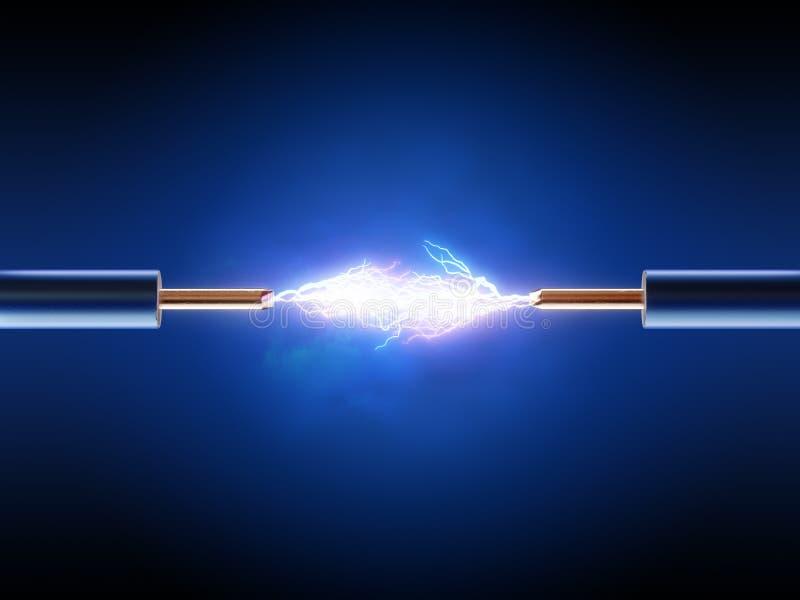 Ηλεκτρικός σπινθήρας μεταξύ δύο μονωμένων καλωδίων χαλκού διανυσματική απεικόνιση