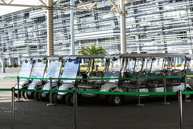 Ηλεκτρικός χώρος στάθμευσης για το μίσθωμα στο ολυμπιακό πάρκο στο Sochi στοκ εικόνες