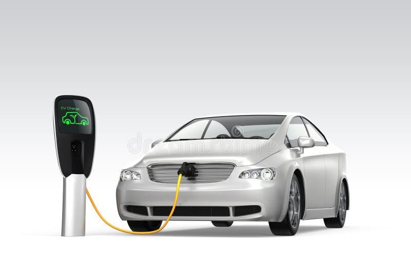 Ηλεκτρικό αυτοκίνητο στο σταθμό χρέωσης ελεύθερη απεικόνιση δικαιώματος