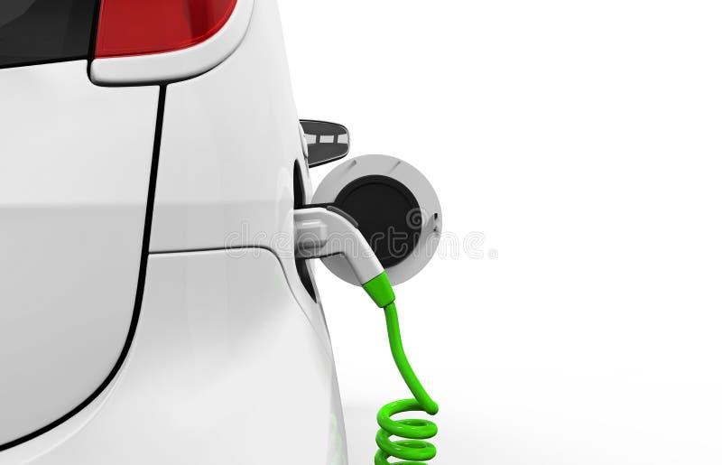 Ηλεκτρικό αυτοκίνητο στο σταθμό χρέωσης απεικόνιση αποθεμάτων
