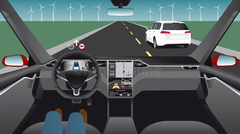 Ηλεκτρικό αυτοκίνητο Driverless διανυσματική απεικόνιση