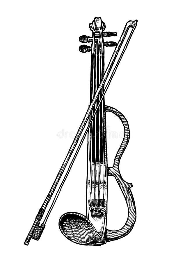 Ηλεκτρικό βιολί με το τόξο ελεύθερη απεικόνιση δικαιώματος