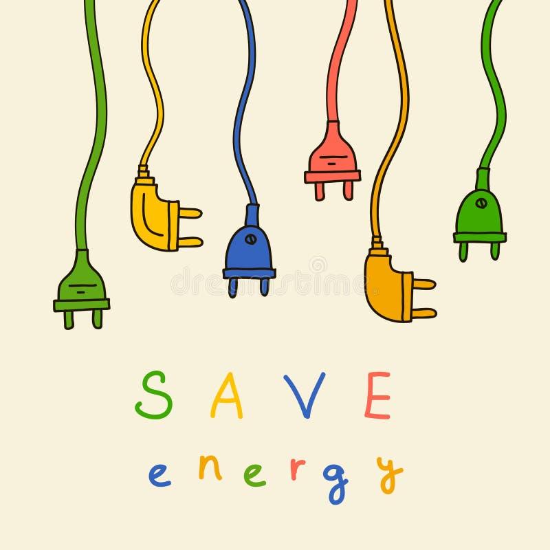 Ηλεκτρικό βούλωμα στο χρώμα η ενέργεια σώζει στοκ εικόνες με δικαίωμα ελεύθερης χρήσης