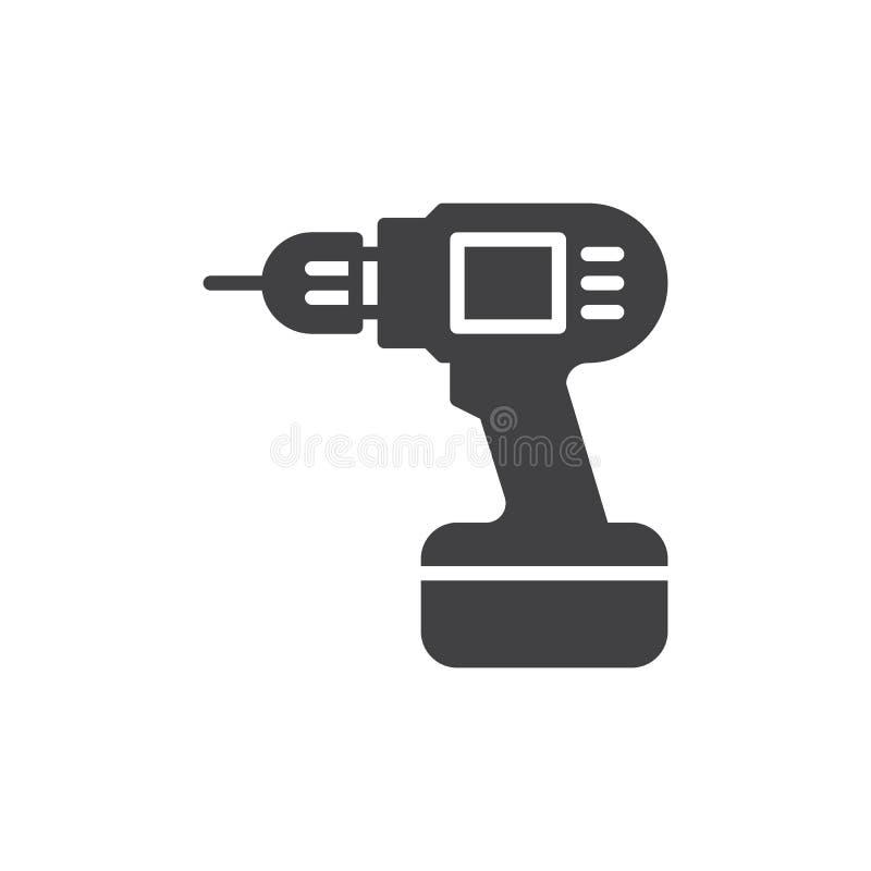 Ηλεκτρικό διανυσματικό, γεμισμένο επίπεδο σημάδι εικονιδίων τρυπανιών χεριών, στερεό εικονόγραμμα που απομονώνεται στο λευκό απεικόνιση αποθεμάτων