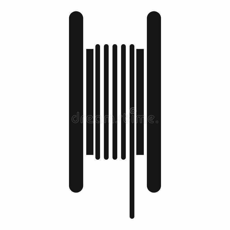 Ηλεκτρικό καλώδιο στο εικονίδιο σπειρών, απλό ύφος διανυσματική απεικόνιση