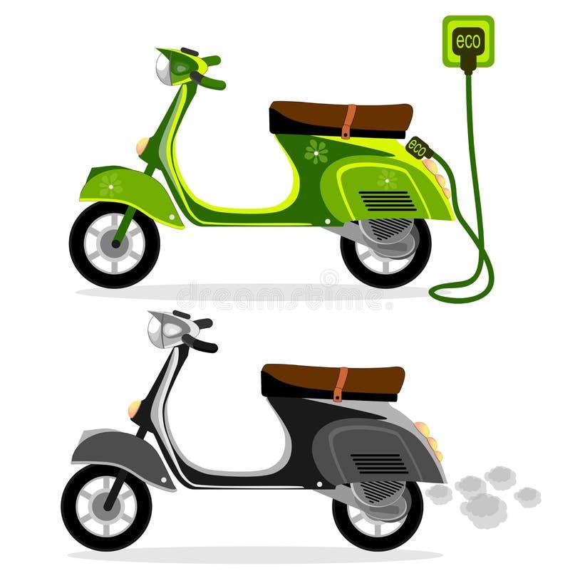 Ηλεκτρικό μοτοποδήλατο και μια μοτοσικλέτα μηχανικών δίκυκλων σε ένα άσπρο υπόβαθρο, διάνυσμα διανυσματική απεικόνιση