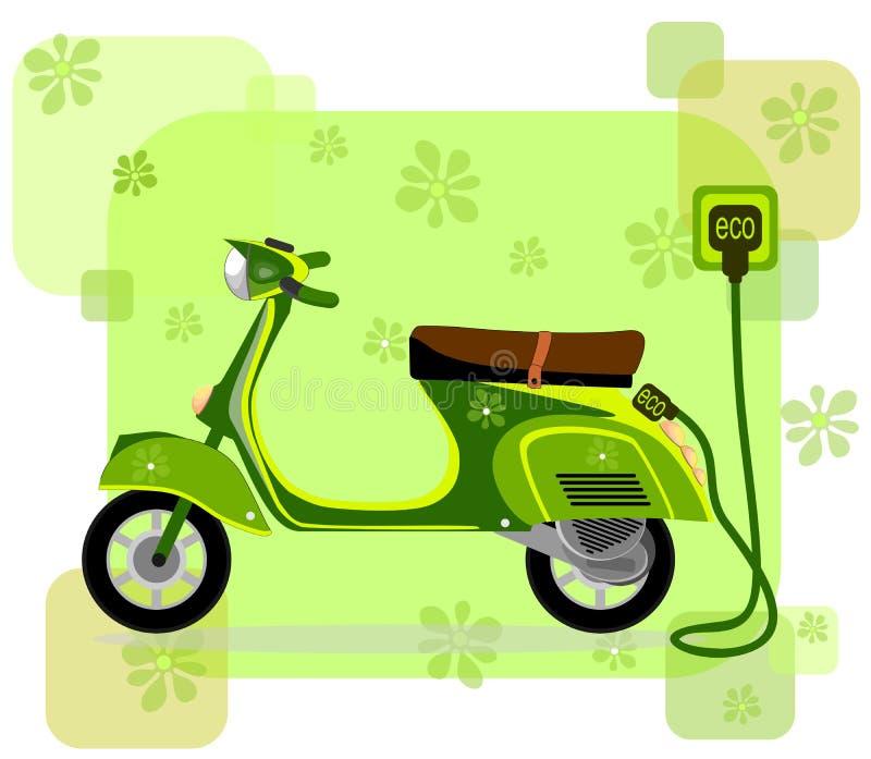 Ηλεκτρικό μοτοποδήλατο, που χρεώνει μέσω του καλωδίου, διάνυσμα απεικόνιση αποθεμάτων