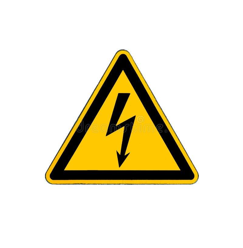 Ηλεκτρικό σημάδι υψηλής τάσης κινδύνου που απομονώνεται στο λευκό στοκ φωτογραφία