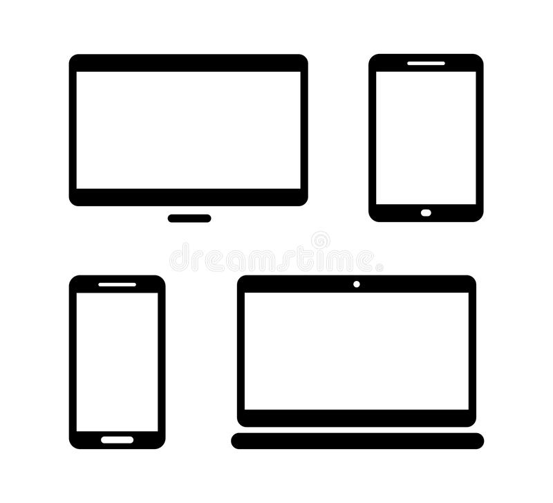 Ηλεκτρονικά εικονίδια συσκευών που απομονώνονται στο άσπρο σύνολο υποβάθρου διανυσματική απεικόνιση