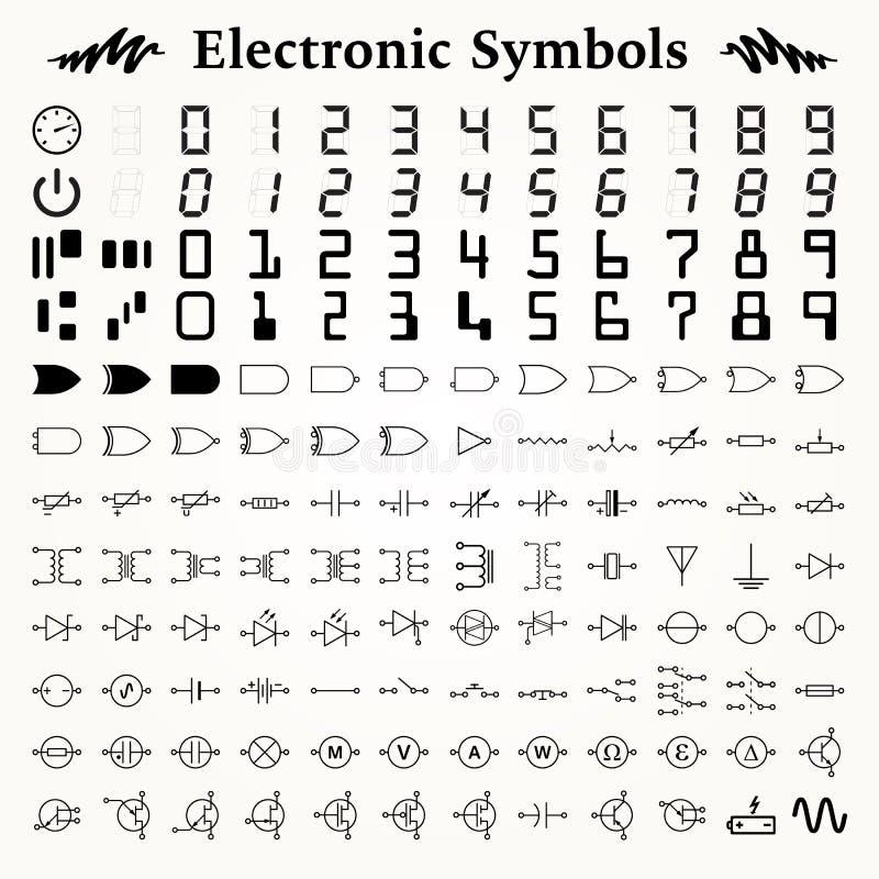 Ηλεκτρονικά σύμβολα διανυσματική απεικόνιση