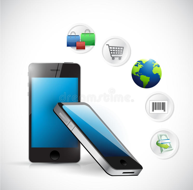 Ηλεκτρονική έννοια ηλεκτρονικού εμπορίου αγορών ελεύθερη απεικόνιση δικαιώματος
