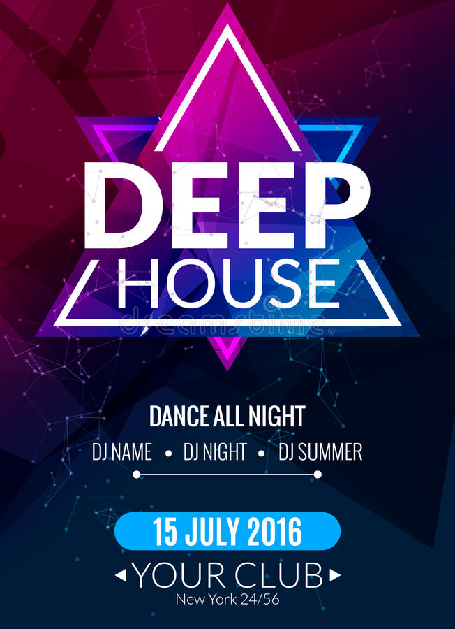 Ηλεκτρονική βαθιά αφίσα μουσικής techno λεσχών Μουσικό ιπτάμενο του DJ γεγονότος Ήχος έκστασης Disco Κόμμα νύχτας απεικόνιση αποθεμάτων