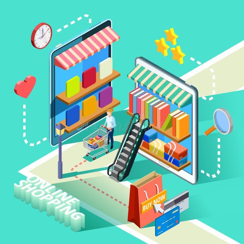 Ηλεκτρονικού εμπορίου αφίσα σχεδίου on-line αγορών Isometric απεικόνιση αποθεμάτων