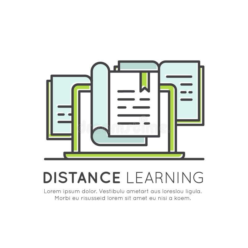 Ηλεκτρονικός σε απευθείας σύνδεση βαθμός βαθμολόγησης εκμάθησης, πληροφορίες απόστασης, υλικό μελέτης, γνώση Διαδικτύου απεικόνιση αποθεμάτων