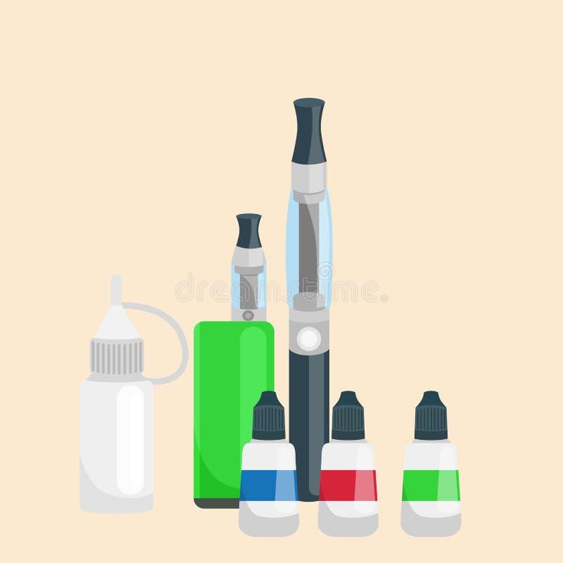 Ηλεκτρονικό δέρμα τσιγάρων και εμφιαλωμένο μέταλλο υγρό για το κατάστημα ατμού εναλλακτική λύση που καπνίζει τη διανυσματική απει ελεύθερη απεικόνιση δικαιώματος