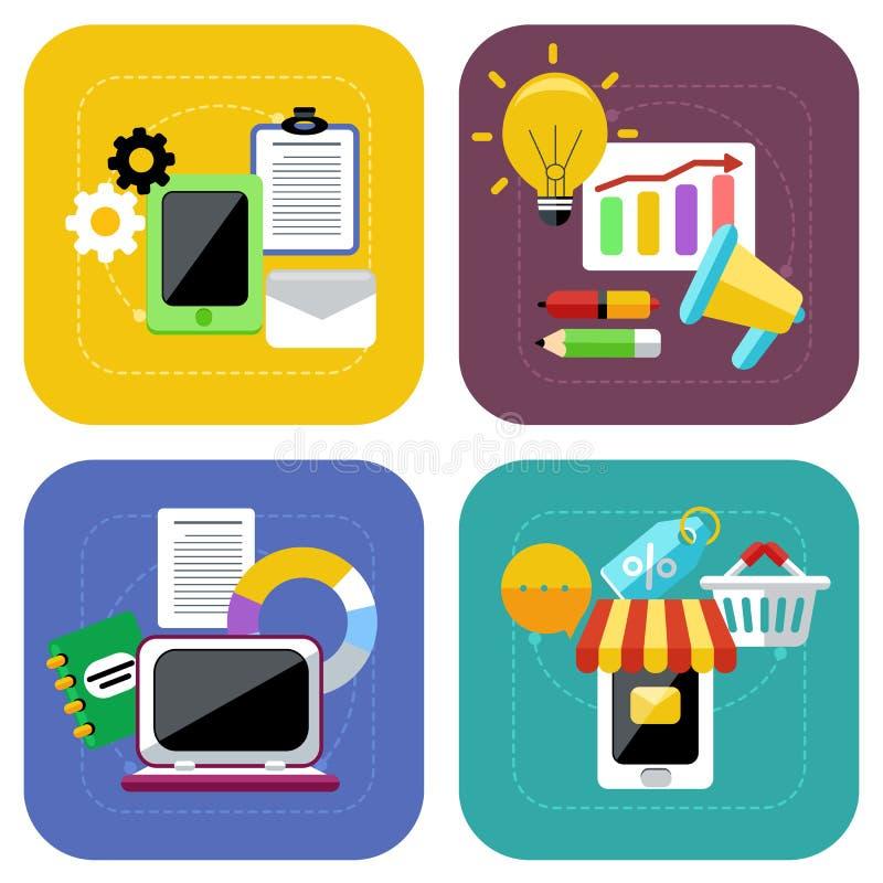 Ηλεκτρονικό εμπόριο και ψηφιακό σύνολο εικονιδίων έννοιας μάρκετινγκ διανυσματική απεικόνιση