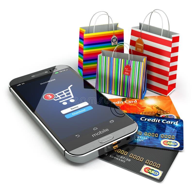 Ηλεκτρονικό εμπόριο σε απευθείας σύνδεση λευκό καροτσακιών αγορών ποντικιών Διαδικτύου Κινητό τηλέφωνο, τσάντα αγορών ελεύθερη απεικόνιση δικαιώματος