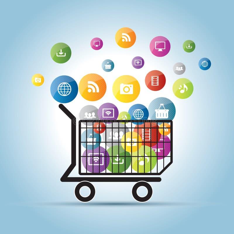 Ηλεκτρονικό εμπόριο στο διαδίκτυο και το κοινωνικό δίκτυο διανυσματική απεικόνιση