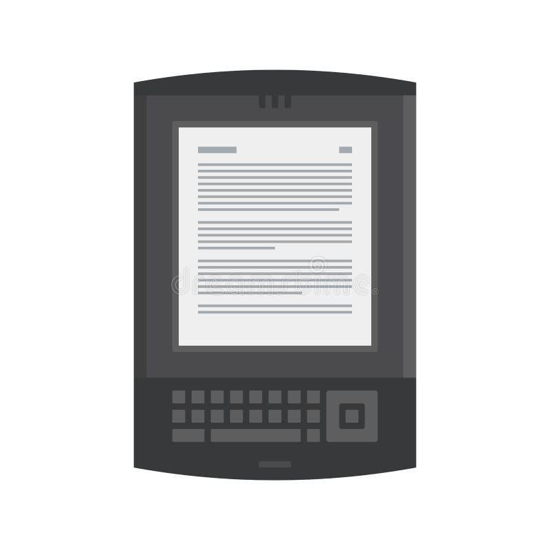Ηλεκτρονικό κινητό βιβλίο με το εικονίδιο πληκτρολογίων ελεύθερη απεικόνιση δικαιώματος