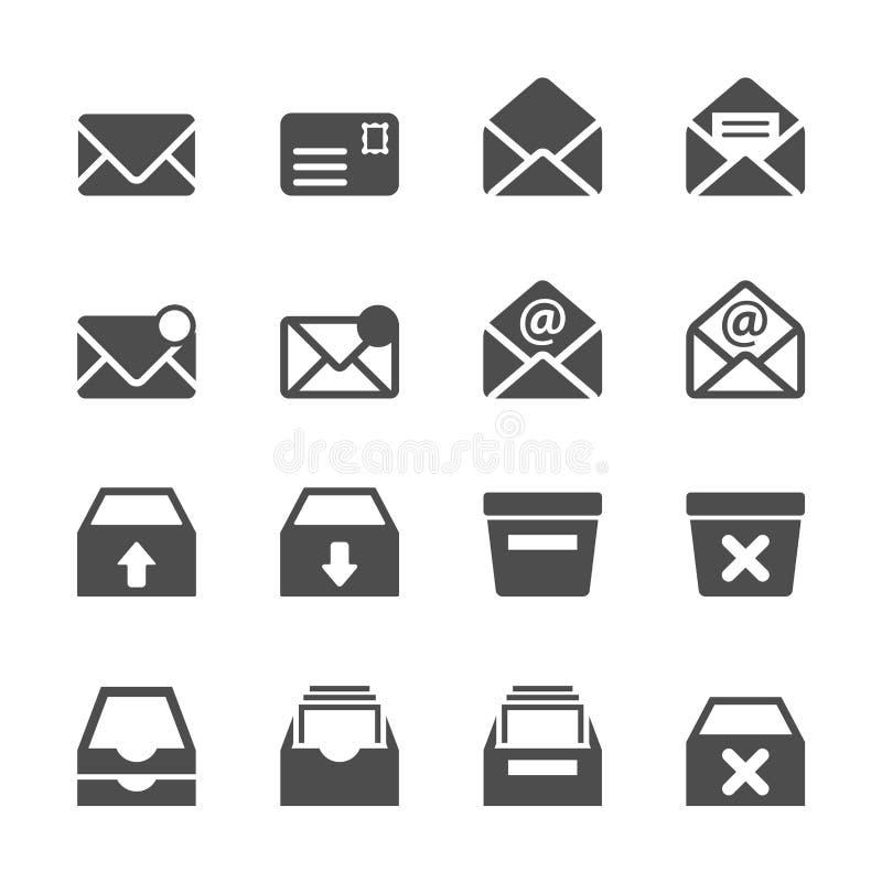Ηλεκτρονικό ταχυδρομείο και σύνολο εικονιδίων ταχυδρομικών θυρίδων, διανυσματικό eps10 απεικόνιση αποθεμάτων