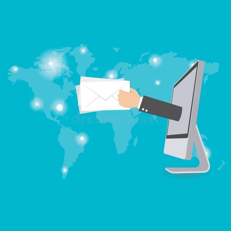 Ηλεκτρονικό ταχυδρομείο που εμπορεύεται την επίπεδη εννοιολογική απεικόνιση ελεύθερη απεικόνιση δικαιώματος