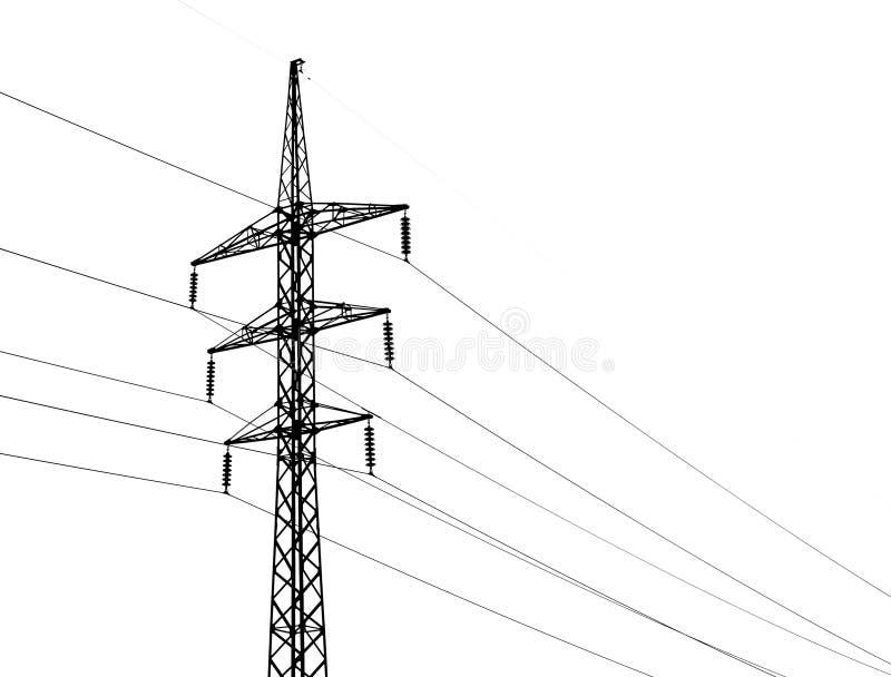 Ηλεκτροφόρα καλώδια υψηλής τάσης και απομονωμένος στο λευκό στοκ εικόνες