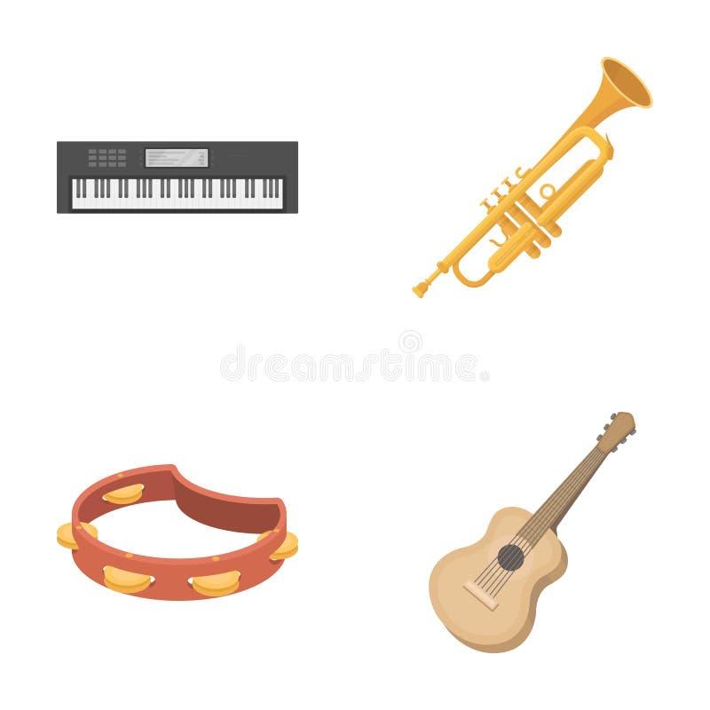 Ηλεκτρο όργανο, σάλπιγγα, ντέφι, κιθάρα σειράς Τα μουσικά όργανα καθορισμένα τα εικονίδια συλλογής στο διάνυσμα ύφους κινούμενων  διανυσματική απεικόνιση