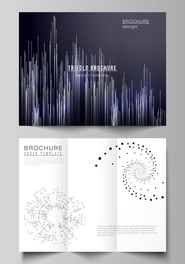 Η ελάχιστη διανυσματική απεικόνιση των editable σχεδιαγραμμάτων Σύγχρονα δημιουργικά πρότυπα σχεδίου καλύψεων για το φυλλάδιο tri διανυσματική απεικόνιση