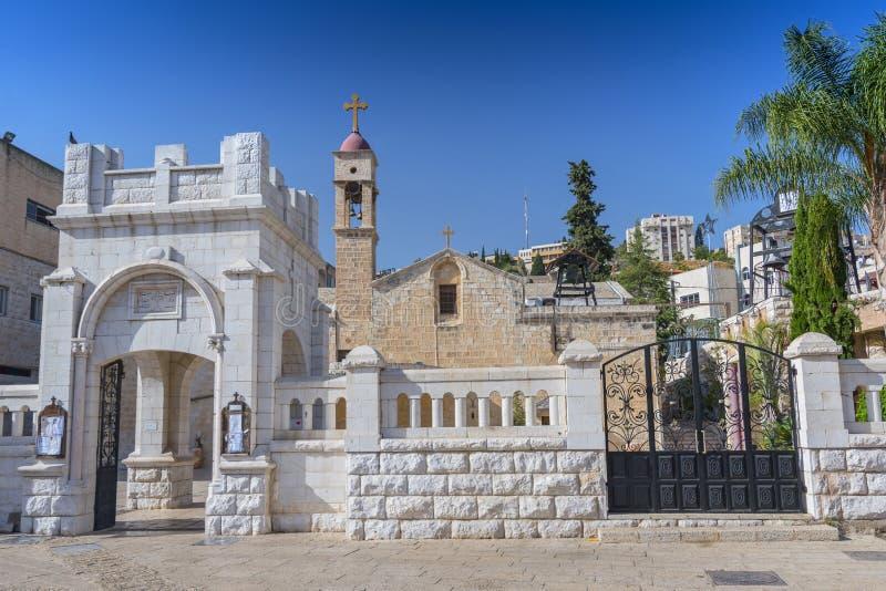 Η ελληνική βασιλική Ορθόδοξων Εκκλησιών Annunciation στη Ναζαρέτ Ισραήλ στοκ εικόνες
