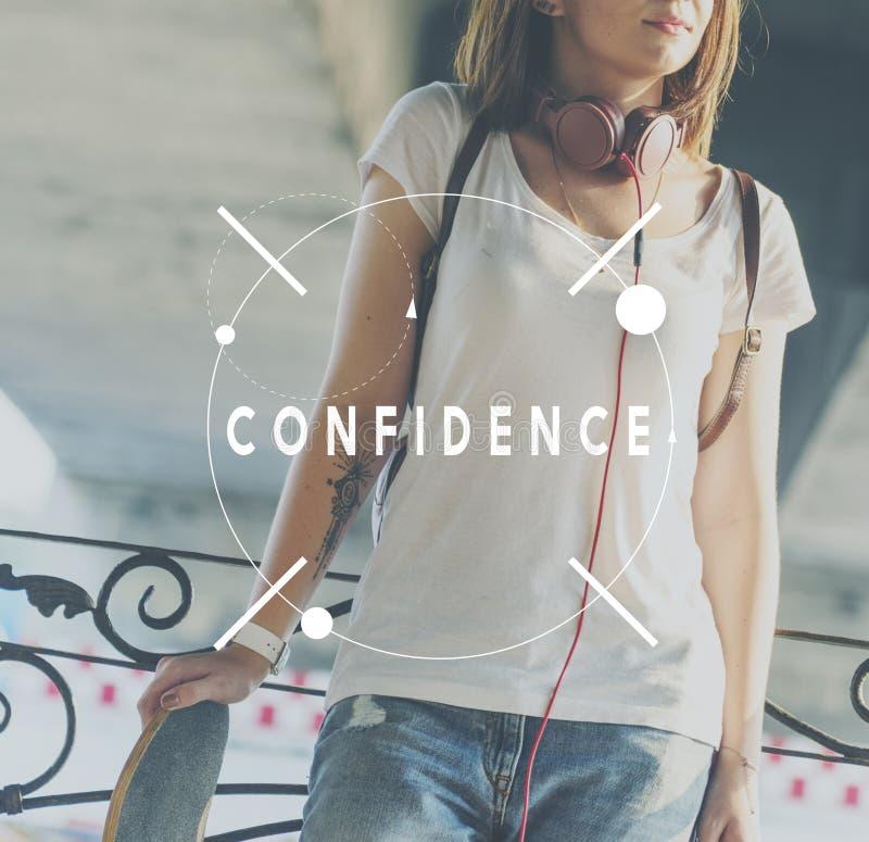 Η εμπιστοσύνη θεωρεί τη μόνη έννοια εκτίμησης αξιοπιστίας πίστης στοκ εικόνα